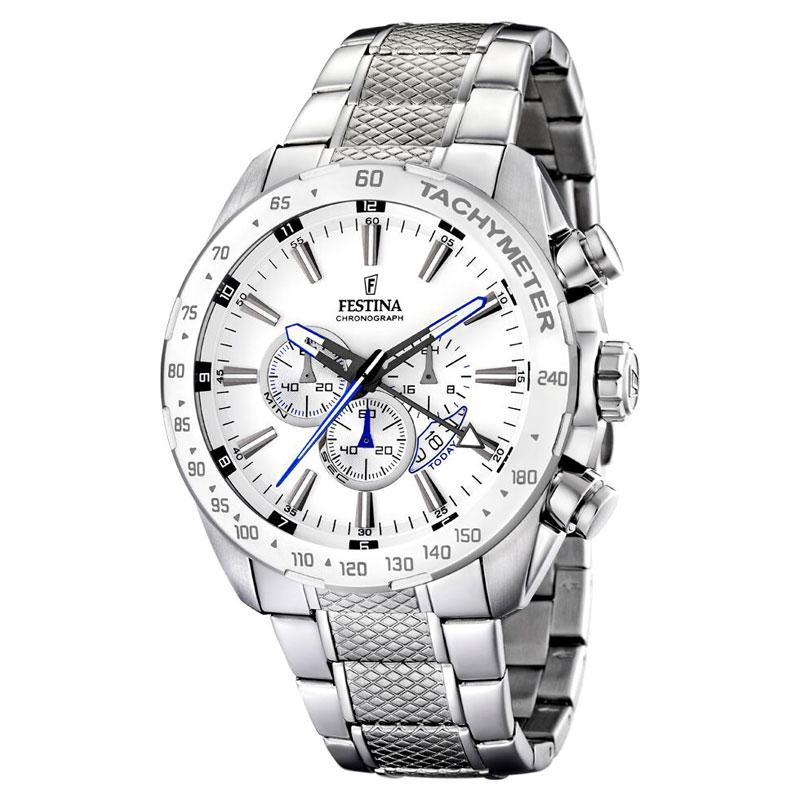Image of   Festina chronograph armbåndsur i stål med hvid skive og lænke