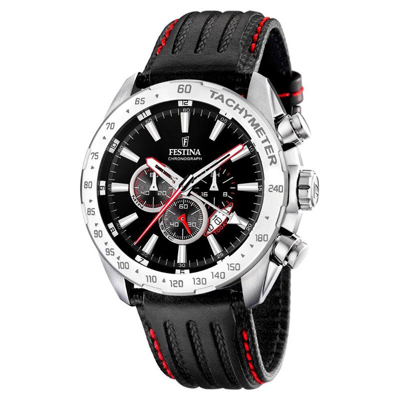 Image of   Festina chronograph armbåndsur i stål med sort skive og sort læderrem med røde syninger