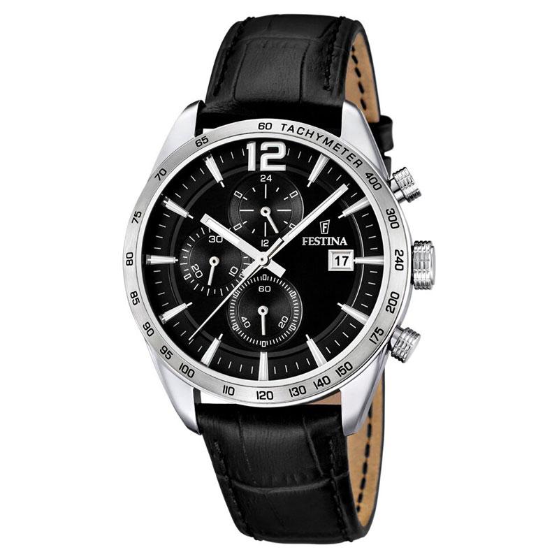Image of   Festina chronograph armbåndsur i stål med sort skive og sort læderrem