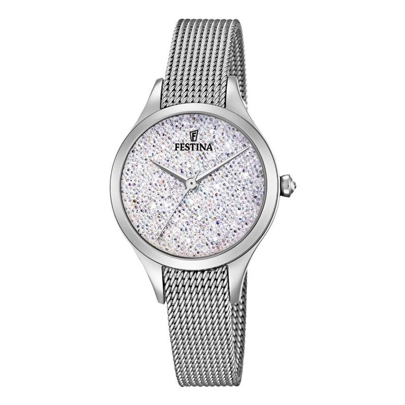 Image of   FESTINA Swarovski armbåndsur i stål med hvid skive og mesh lænke