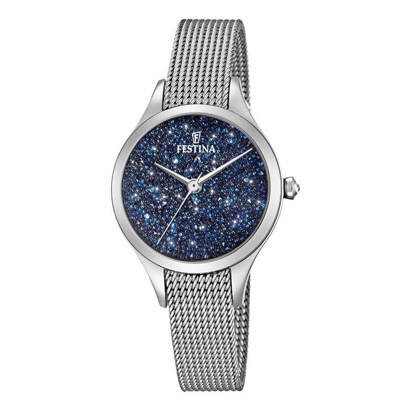 Image of   FESTINA Swarovski armbåndsur i stål med blå skive og mesh lænke