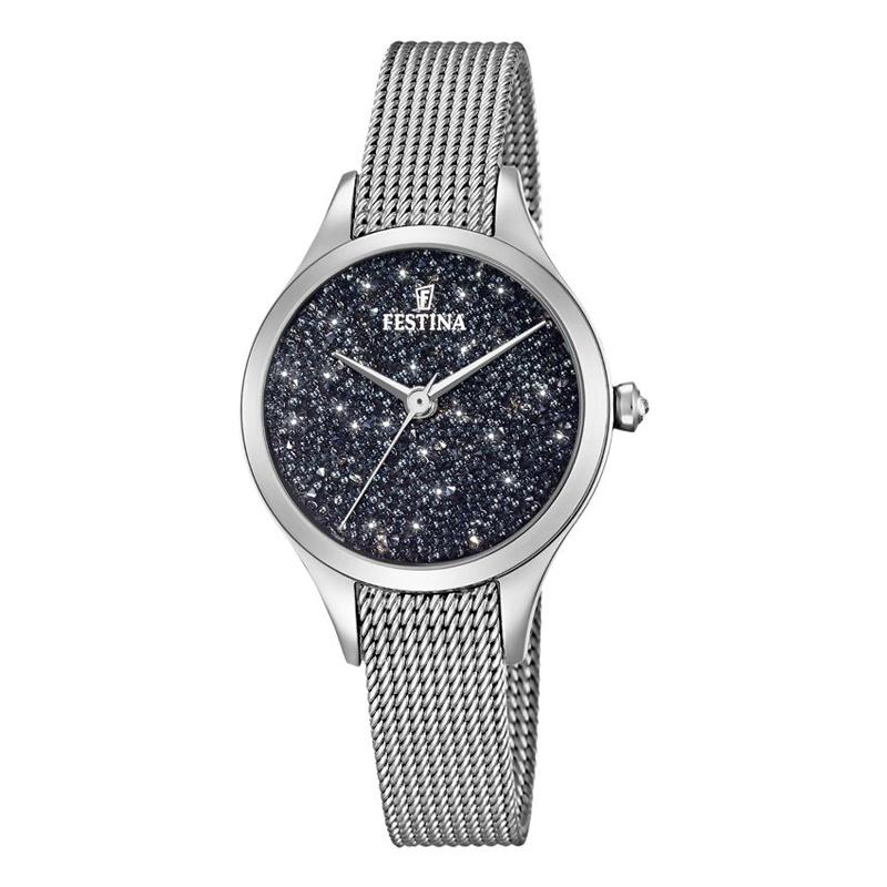 FESTINA Swarovski armbåndsur i stål med sort skive og mesh lænke thumbnail