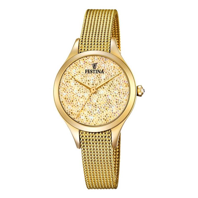 Image of   FESTINA Swarovski armbåndsur i forgyldt med gylden skive og mesh lænke