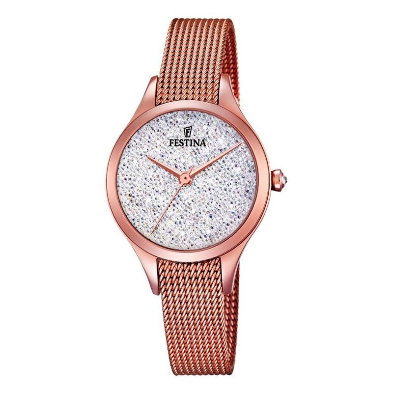 Image of   FESTINA Swarovski armbåndsur i rosaforgyldt med hvid skive og mesh lænke