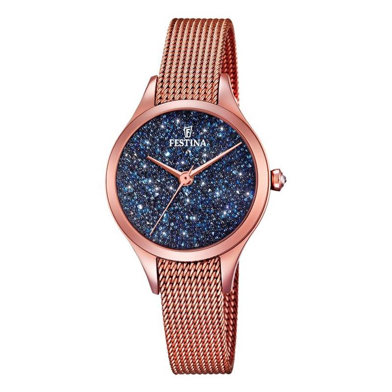 Image of   FESTINA Swarovski armbåndsur i rosaforgyldt med blå skive og mesh lænke