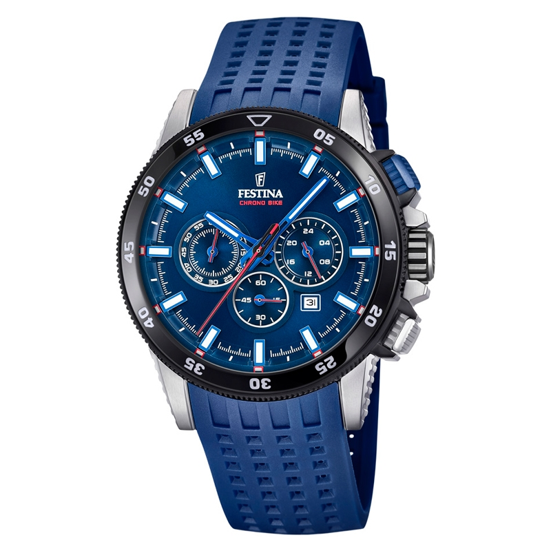 Image of   Festina Chrono bike 2018 armbåndsur i stål med blå skive og blå gummirem