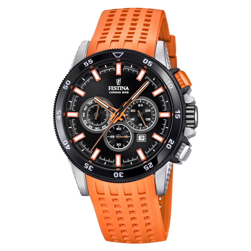 Image of   Festina Chrono bike 2018 armbåndsur i stål med sort skive og orange gummirem