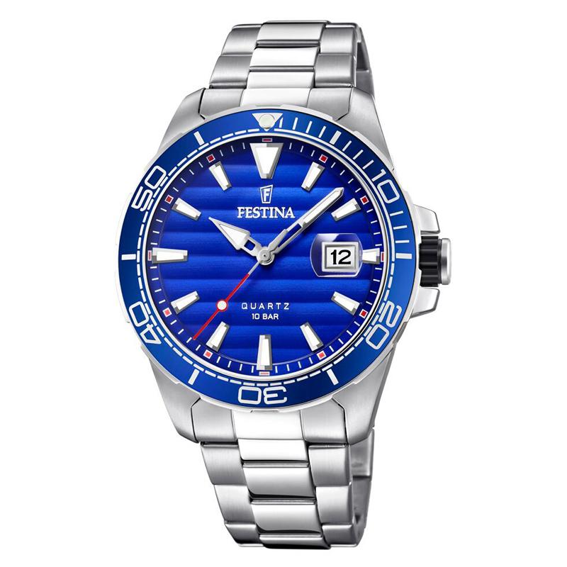 Image of   Festina armbåndsur i stål med lænke og blå skive
