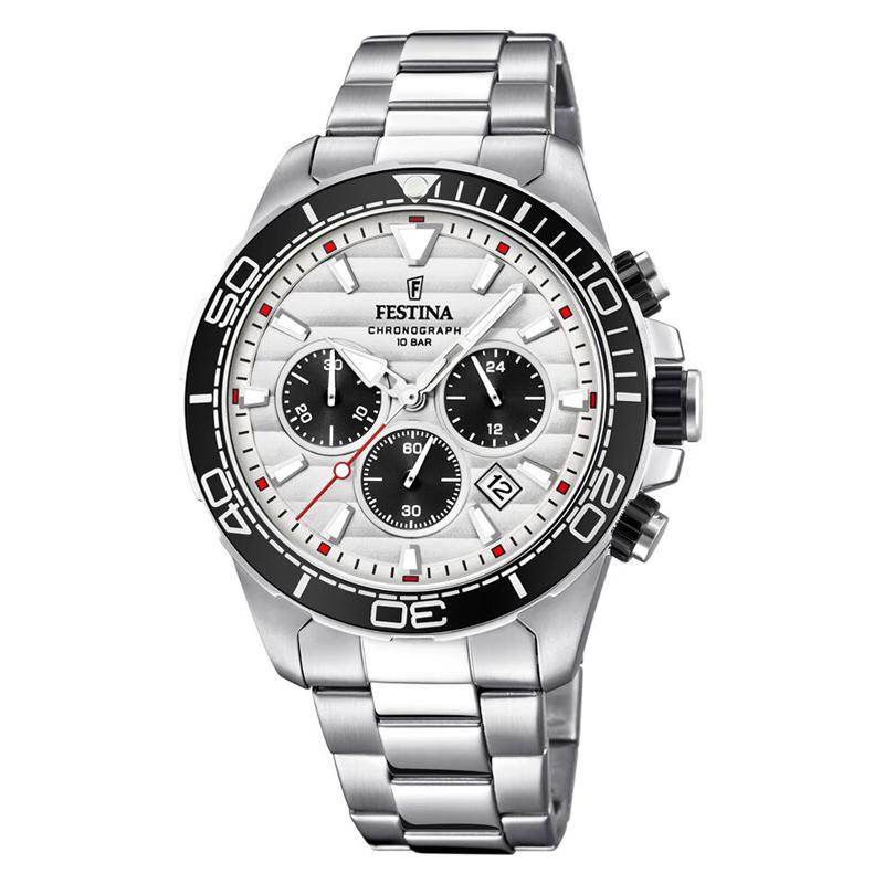 Image of   Festina chronograph armbåndsur i stål med lænke og hvid skive