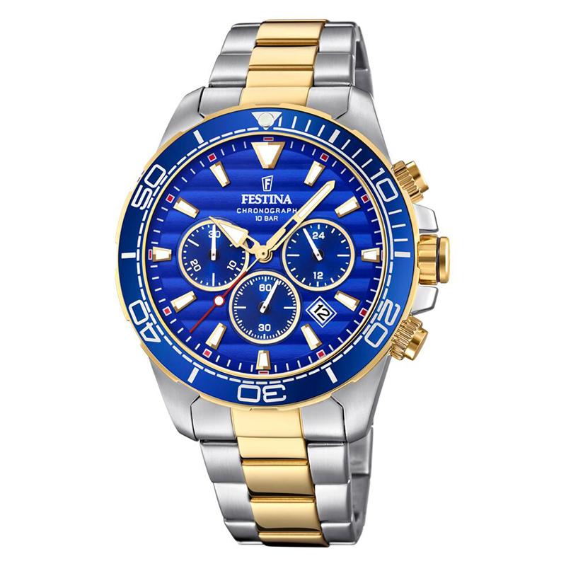 Image of   Festina chronograph armbåndsur i bicolour stål med blå skive og lænke