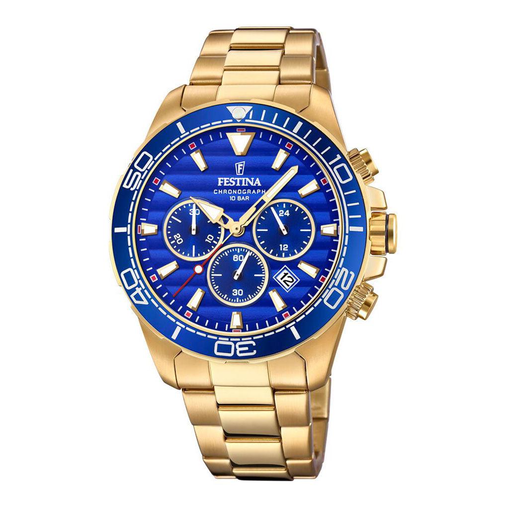 Image of   Festina chronograph armbåndsur i guldfarvet stål med blå skive og lænke