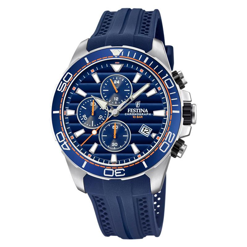 Image of   Festina chronograph armbåndsur i stål med blå skive og blå gummi rem