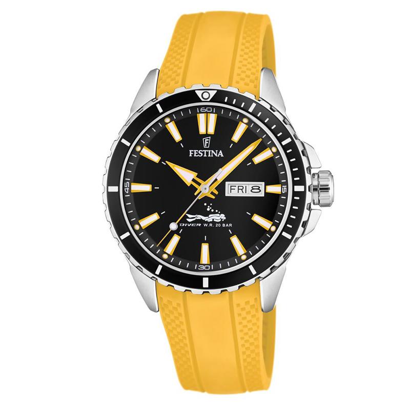 Image of   Festina Diver armbåndsur i stål med sort skive og gul gummi rem