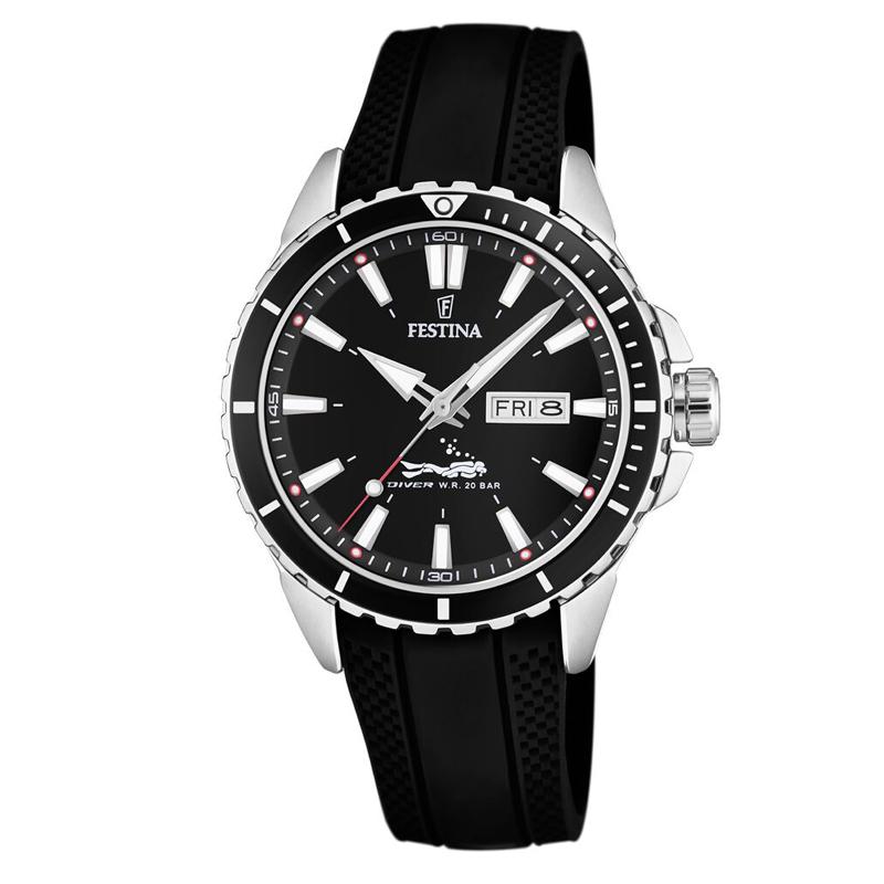 Image of   Festina Diver armbåndsur i stål med sort skive og sort gummi rem