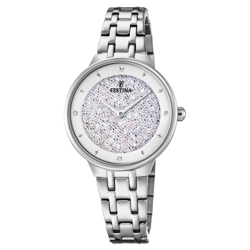 Image of   FESTINA Swarovski armbåndsur i stål med hvid krystal skive og lænke