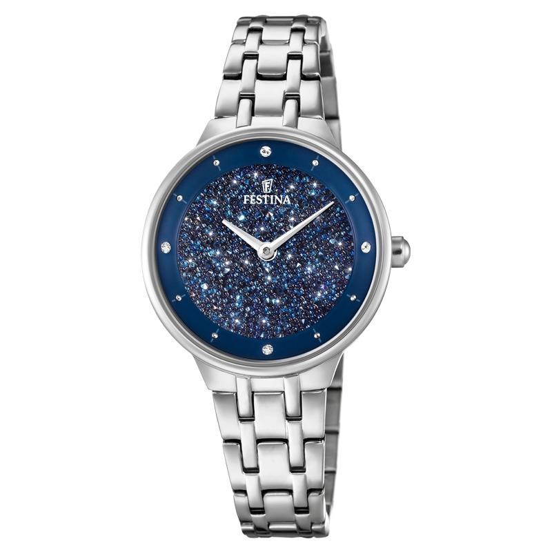 Image of   FESTINA Swarovski armbåndsur i stål med mørkeblå krystal skive og lænke