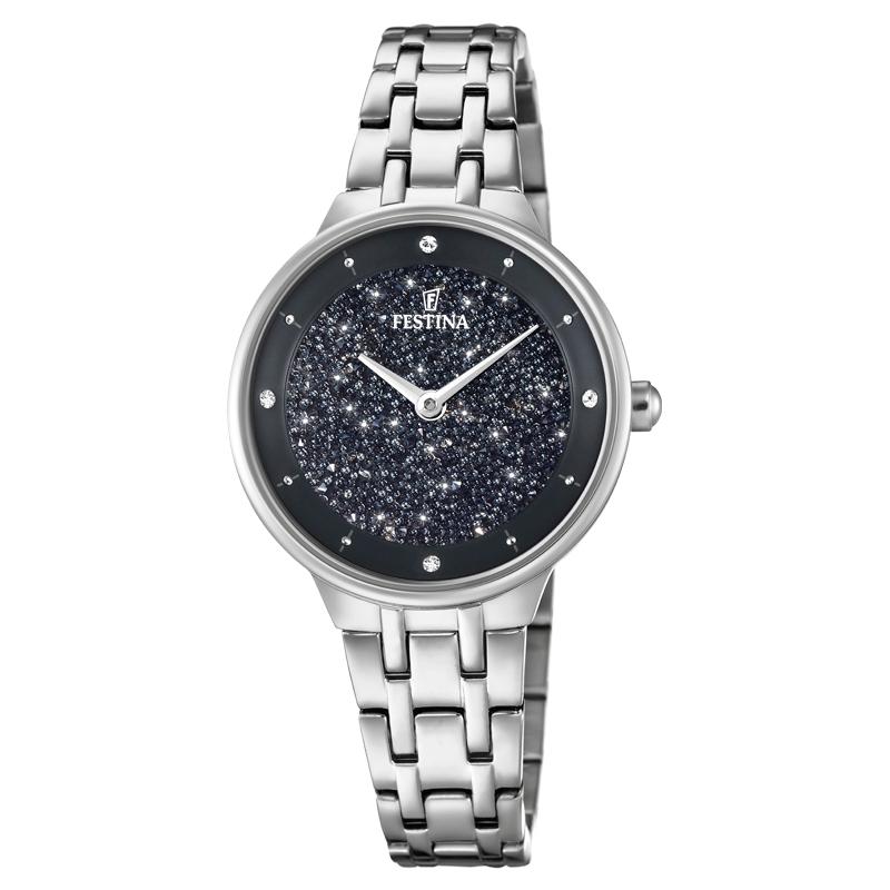 Image of   FESTINA Swarovski armbåndsur i stål med sort krystal skive og lænke