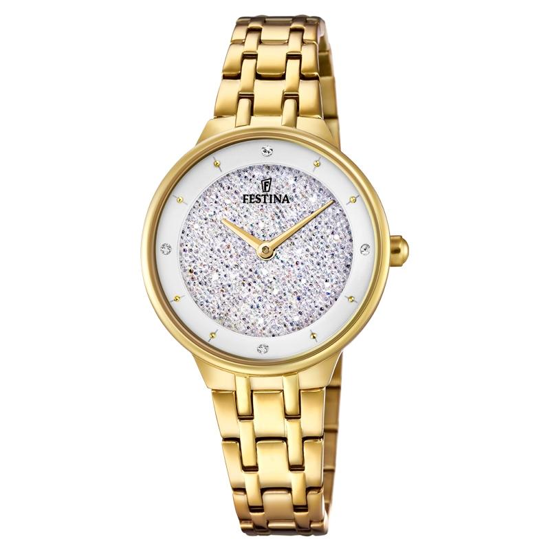 Image of   FESTINA Swarovski armbåndsur i forgyldt med hvid skive og lænke