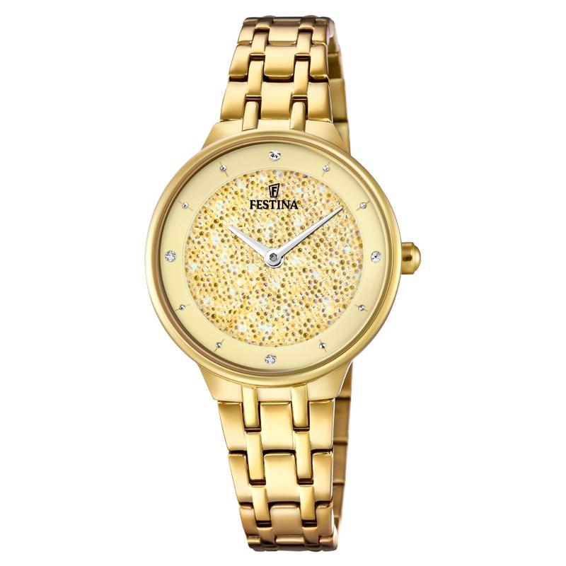 Image of   FESTINA Swarovski armbåndsur i forgyldt med guld krystal skive og lænke