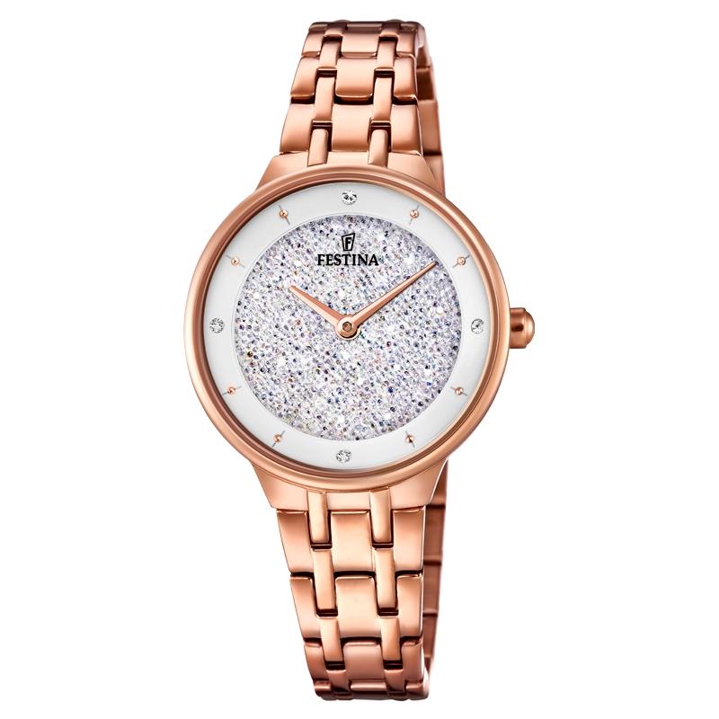 Image of   FESTINA Swarovski armbåndsur i rosaforgyldt med hvid skive og lænke