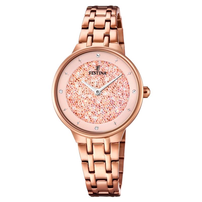 Image of   FESTINA Swarovski armbåndsur i rosaforgyldt med rosa skive og lænke