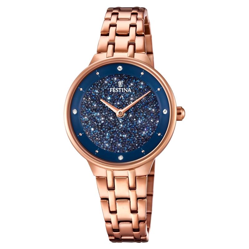 Image of   FESTINA Swarovski armbåndsur i rosaforgyldt med mørkeblå skive og lænke