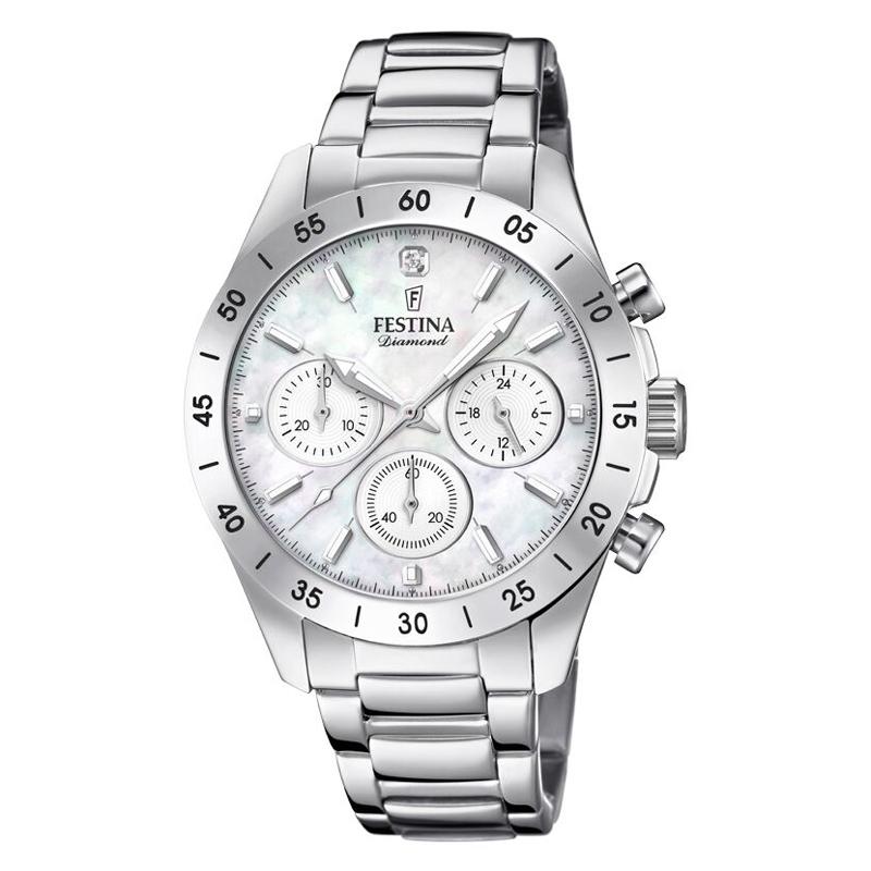 Image of   FESTINA Diamond chronograph armbåndsur i stål med perlemorsskive
