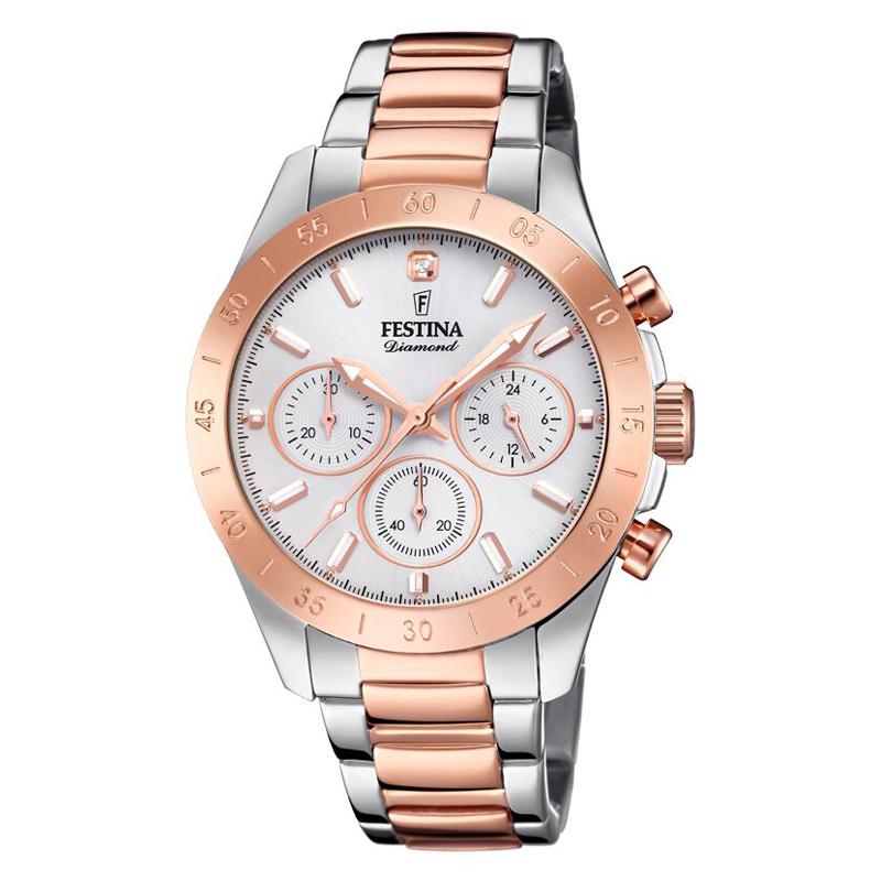 Image of   FESTINA Diamond chronograph armbåndsur i bicolour stål/rosa med stål skive