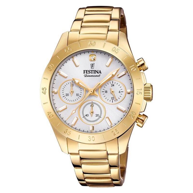 Image of   FESTINA Diamond chronograph armbåndsur i guldfarvet stål med stål skive