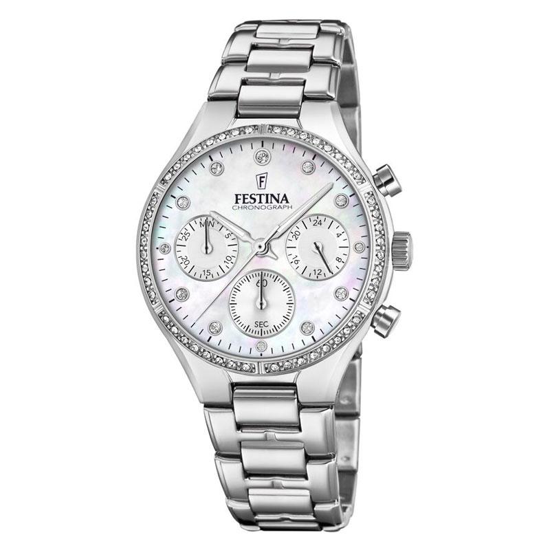 Image of   FESTINA chronograph armbåndsur i stål med hvid perlemorsskive og cubic zirkonia