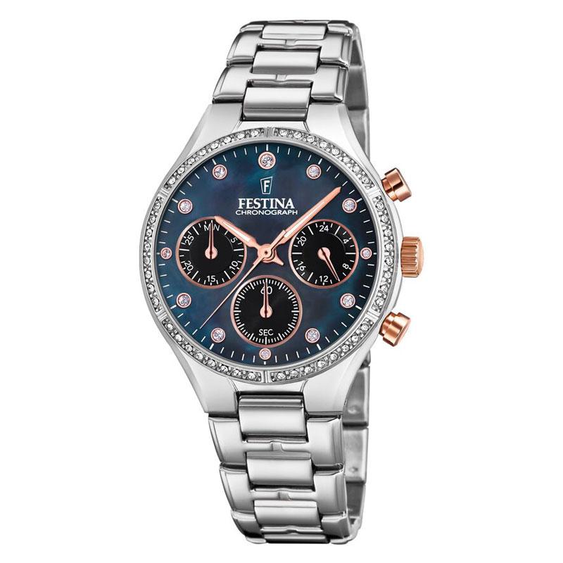 Image of   FESTINA chronograph armbåndsur i stål med sort perlemorsskive og cubic zirkonia