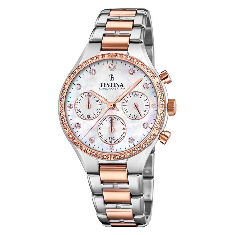 Image of   FESTINA chronograph armbåndsur i stål/rosaguldfarvet med hvid perlemorsskive og cubic zirkonia