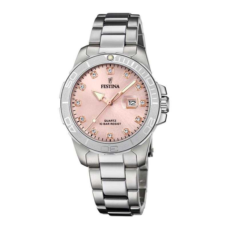 FESTINA damearmbåndsur i stål med rosa urskive thumbnail