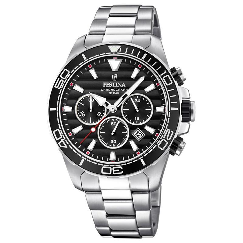 Image of   Festina chronograph armbåndsur i stål med lænke og sort skive