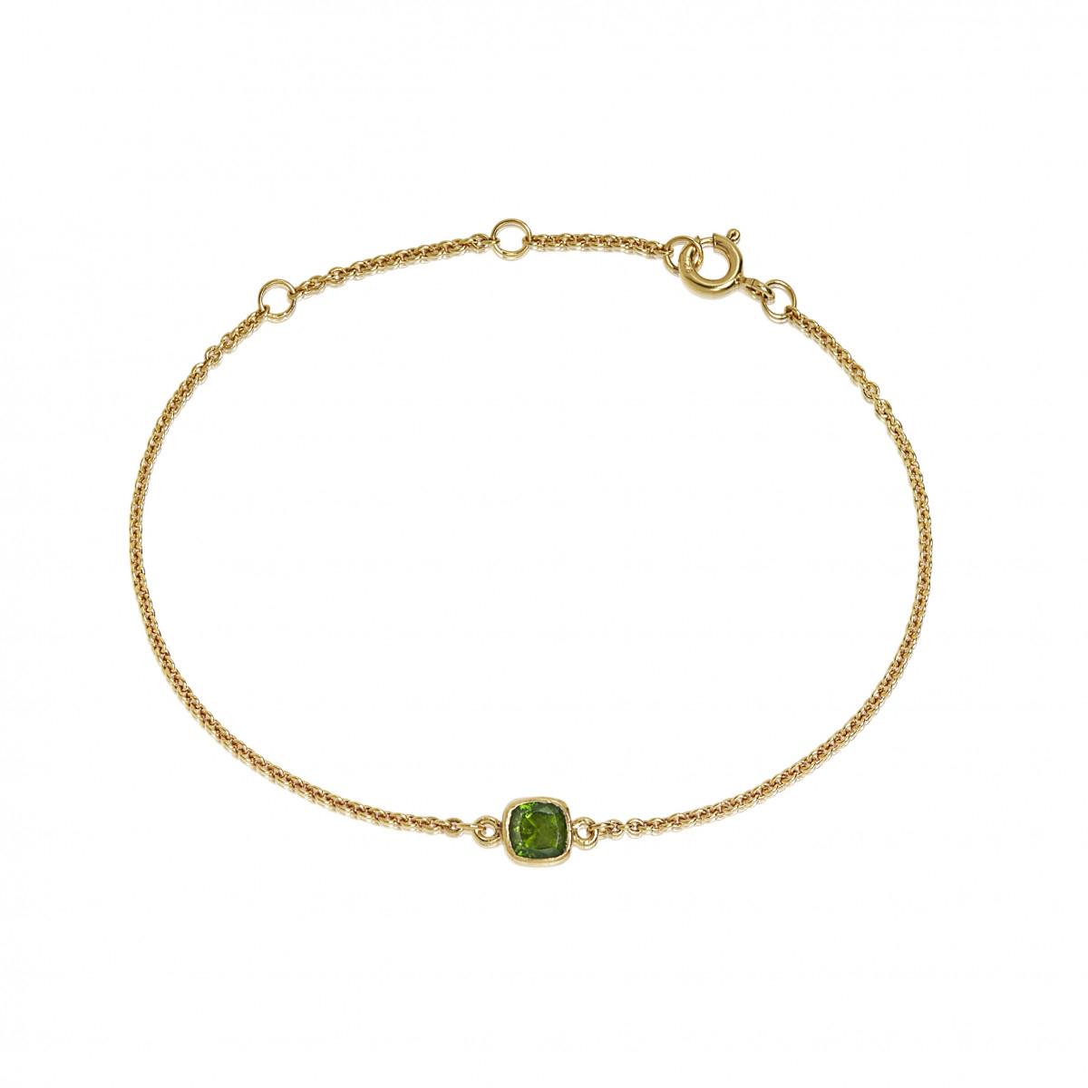 Image of   Carré forgyldt armbånd med grøn Chrom Diopsid