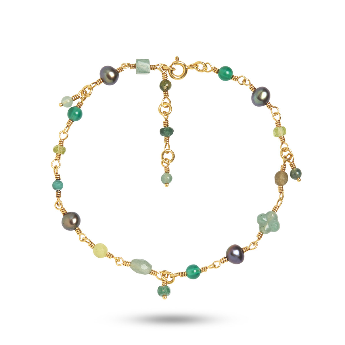 Image of   Carré forgyldt armbånd med ædelsten og perler