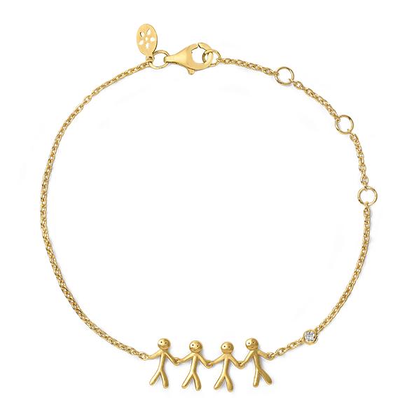 ByBiehl together familiy 4 armbånd i 14 kt guld med 0,02 ct diamant