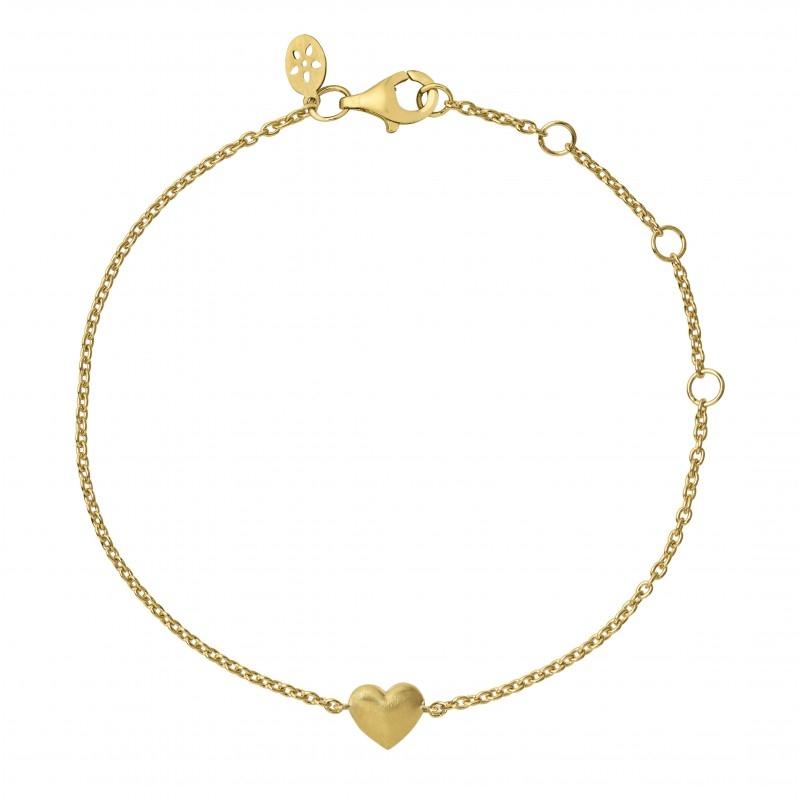 ByBiehl fine heart armbånd i 14 kt guld
