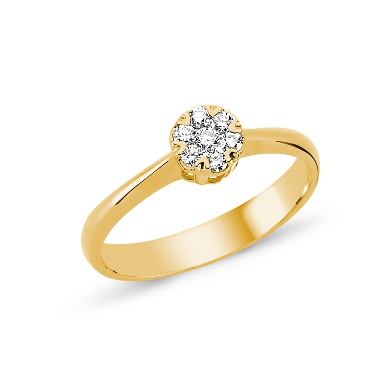 Image of   Nuran Flora ring 14 kt rødguld med brillanter