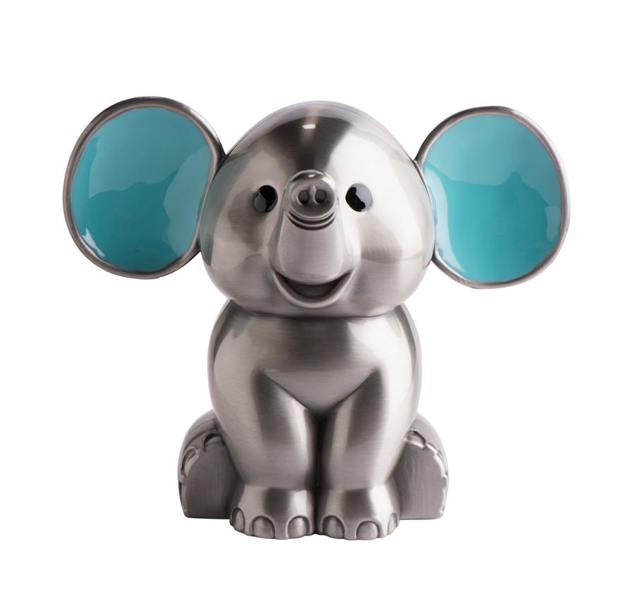 Image of   Sparebøsse elefant i fortinnet med blå emalje