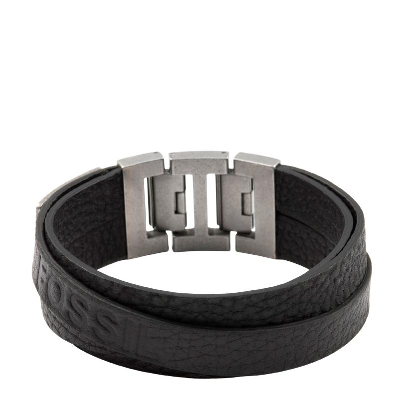 Fossil armbånd i sort læder