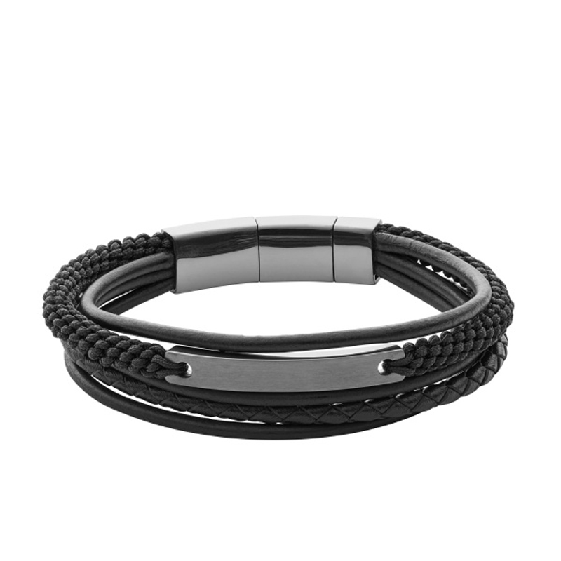 Fossil armbånd sort læder og mørkt rustfri stål