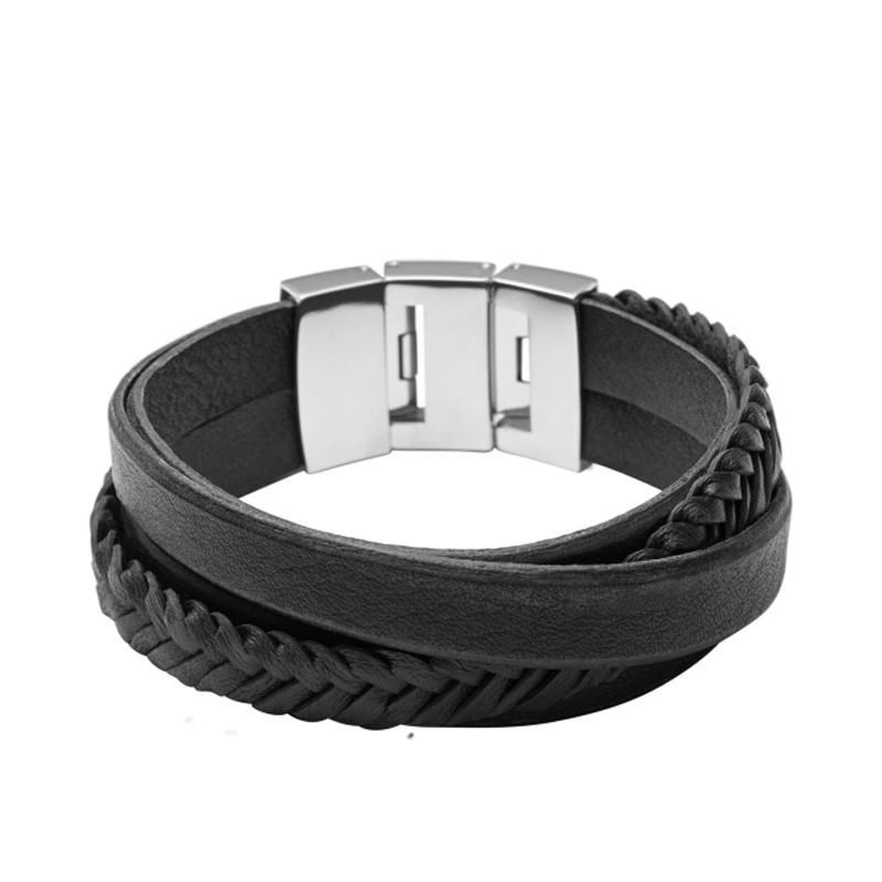 Fossil armbånd sort læder og rustfri stål