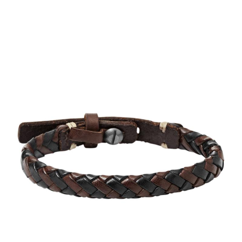 Fossil armbånd sort og brun læder flettet