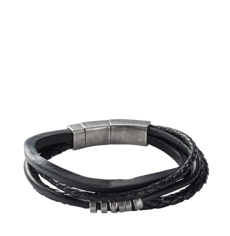 Fossil armbånd læder sort flettet
