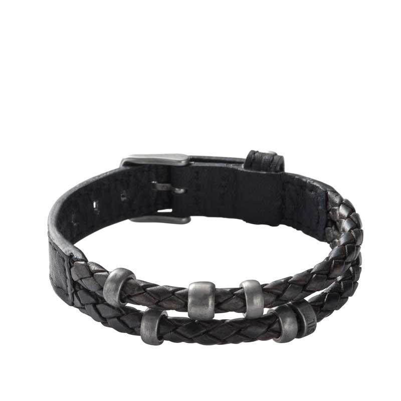 Fossil armbånd sort læder flettet