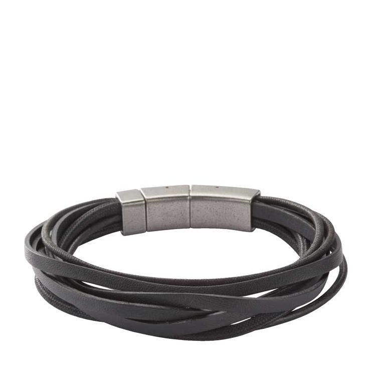 Fossil armbånd sort læder