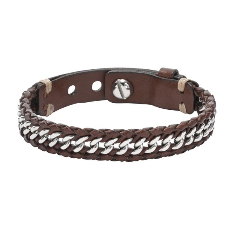 Fossil armbånd brun læder og stål