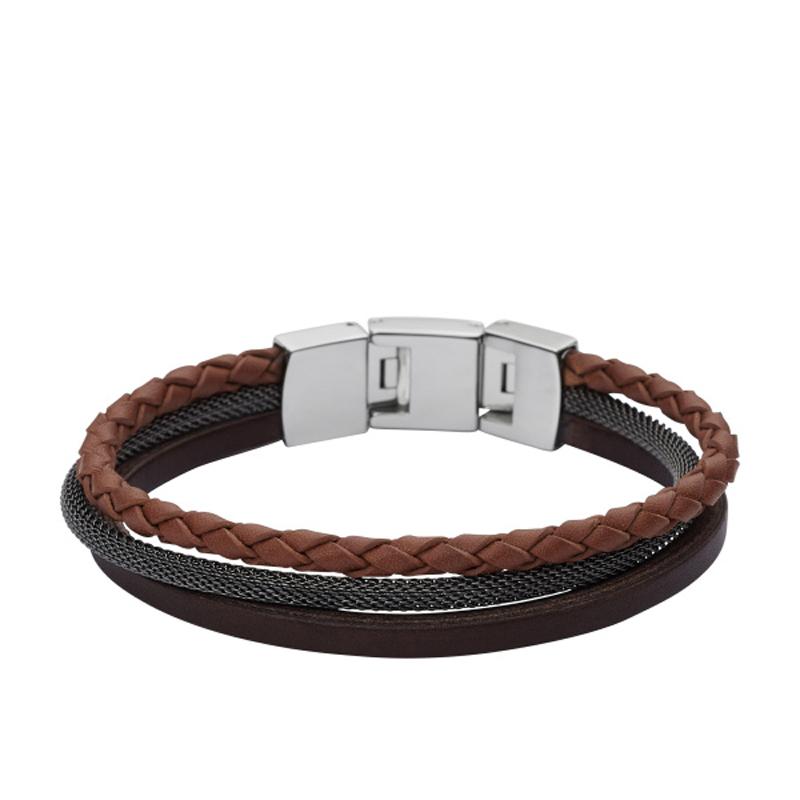Fossil armbånd i brunt læder og grå mesh