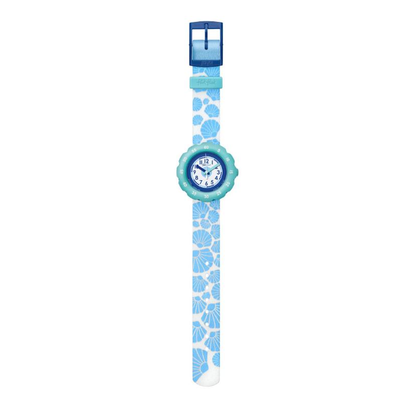 Image of   Flik Flak Soft Blue børneur i hvid med blå strandskaller